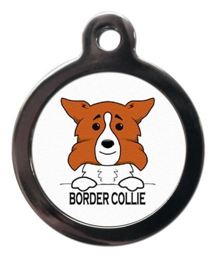 Border  Collie CARTOON BROWN ID tag